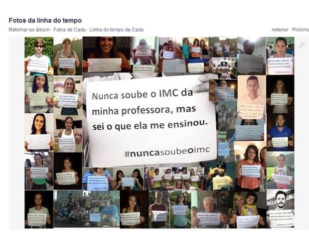 Amigos fazem campanha depois que Estado impediu professora obesa de Araraquara de dar aulas (Foto: Reprodução/Facebook)