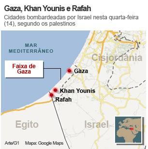 Gaza, Khan Younis e Rafah, cidades bombardeadas por Israel nesta quarta-feira (14), segundo os palestinos (Foto: Arte/G1)
