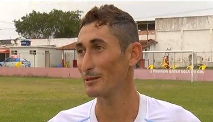 Raphael Di María, atacante do São Pedro e sósia do craque argentino (Foto: Reprodução Intertv)