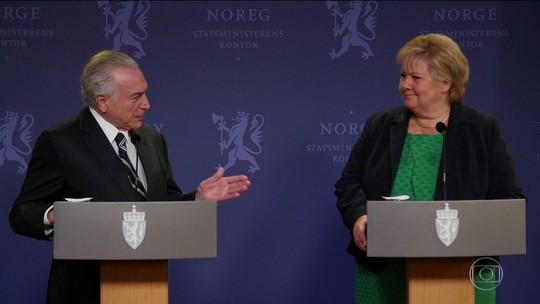 Temer é recebido na Noruega em clima de cobrança e até comete gafe