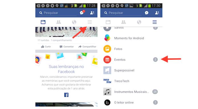 Acessando a página de eventos do Facebook pelo Android (Foto: Reprodução/Marvin Costa)