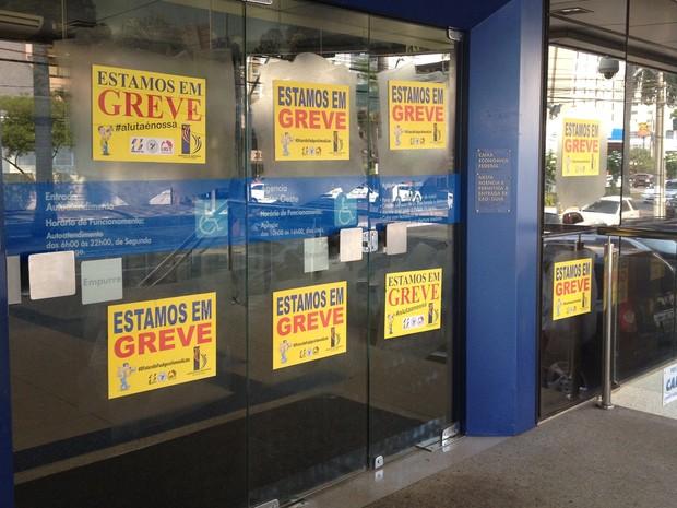 Agências bancárias seguem fechadas em Goiânia, Goiás (Foto: Fernanda Borges/G1)