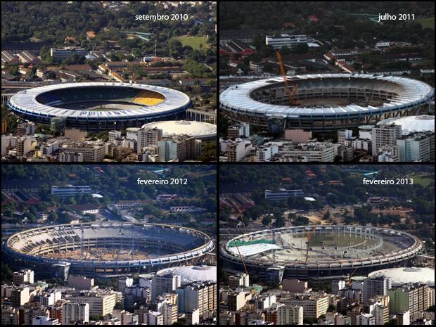Entre setembro de 2010 e fevereiro de 2012, cobertura e cadeiras foram retirados. Um ano depois, começou a reinstalação (Foto: Marcos Estrella/TV Globo)