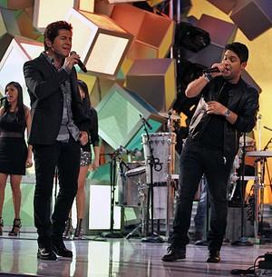 Jorge & Mateus soltam a voz com o ídolo Daniel! (Inácio Moraes / TV Globo)
