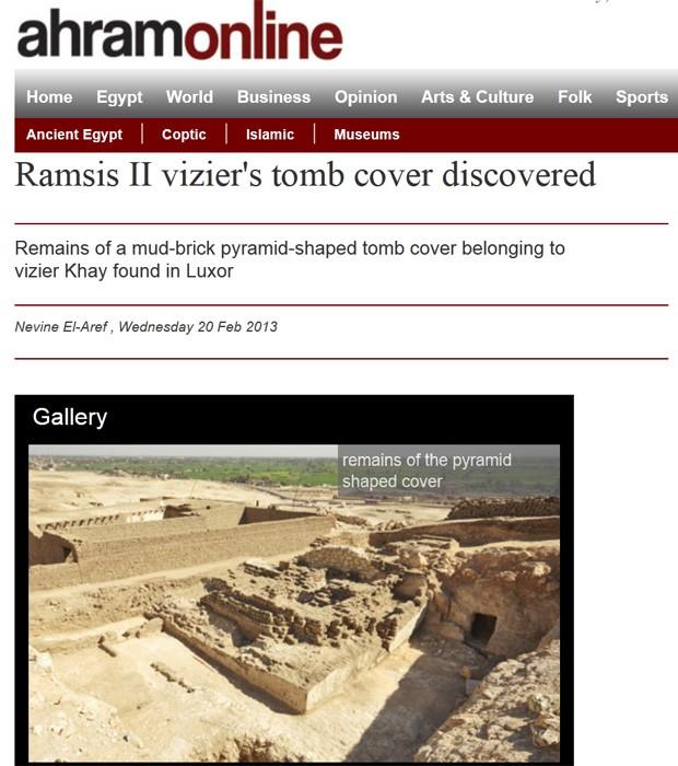 Ruínas de pirâmide encontradas por arqueólogos belgas (Foto: Reprodução/Ahram Online)