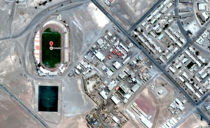 Imagem de satélite da cidade de El Salvador, lar do Cobresal, do Chile (Foto: Google Maps)