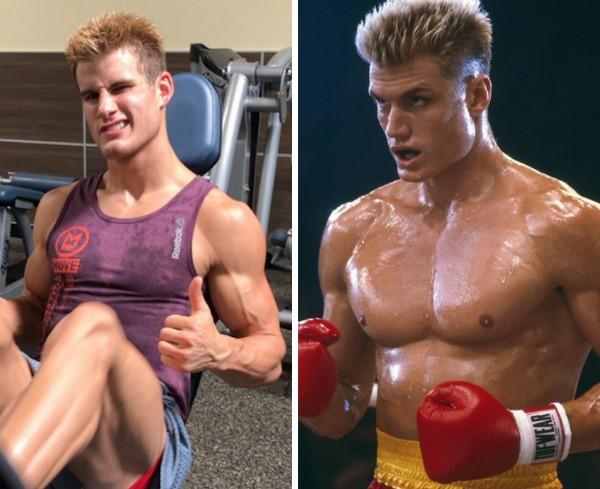 O lutador norte-americano de MMA Sage Northcutt e o ator Dolph Lundgren (Foto: Twitter/Reprodução)