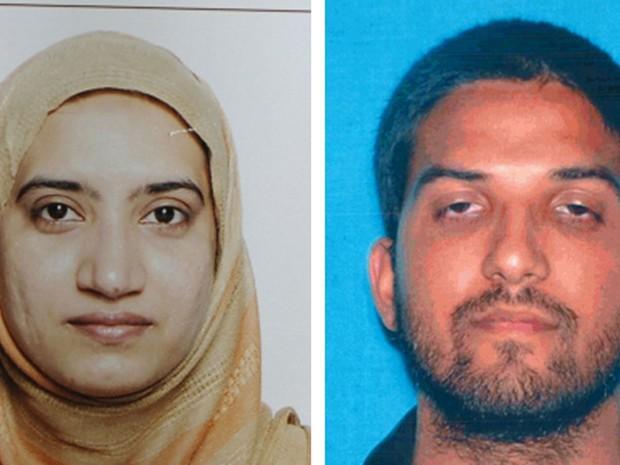 Tashfeen Malik e Syed Malik, autores do ataque em San Bernardino, na Califórnia, em 2 de dezembro (Foto: FBI/California Department of Motor Vehicles via AP)