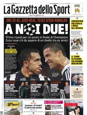 Capa Gazzetta dello Sport Carlitos Tevez e Cristiano Ronaldo (Foto: Reprodução)