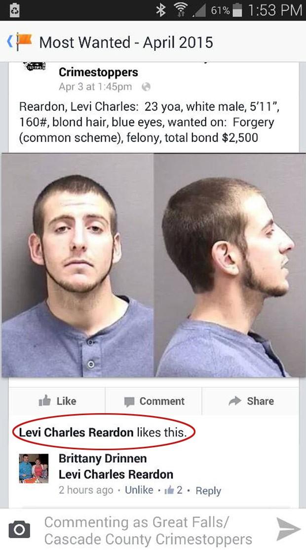 Levi Charles Reardon curtiu a própria foto de procurado em site no Facebook (Foto: Great Falls/Cascade County Crimestoppers/AP)