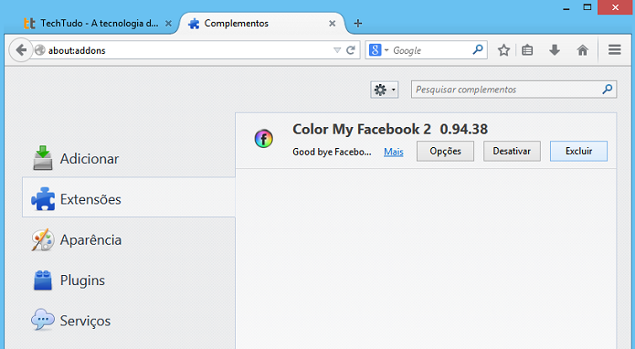Desinstalando extensão do Firefox (Foto: Reprodução/Helito Bijora)