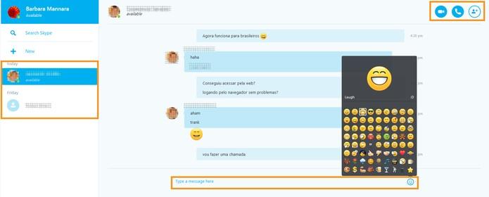 Funções da tela inicial do Skype Web (Foto: Reprodução/Barbara Mannara)
