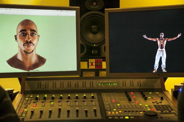 Imagens usadas para criar o holograma de 2Pac (Foto: AP)