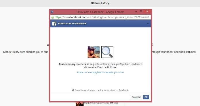 Autorize o site a usar os dados do seu perfil (Foto: Reprodução/Thiago Barros)