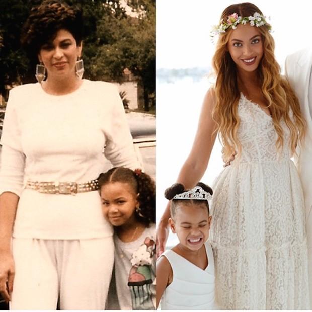 Beyoncé quando criança com a mãe, Tina Knowles, e ao lado da filha Blue Ivy (Foto: Instagram/ Reprodução)
