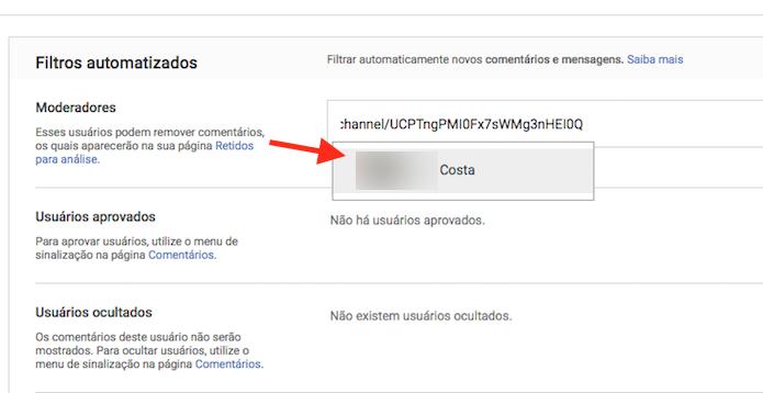 Local para colar a URL do canal da pessoa que será moderadora de comentários (Foto: Reprodução/Marvin Costa)