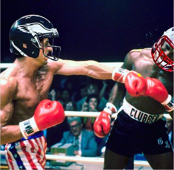 Uma montagem compartilhada por Sylvester Stallone em que ele aparece como Rocky, dentro de um ringue, lutando com o capacete do Philadelphia Eagles  (Foto: Instagram)