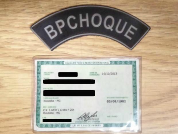 Foragido usava documento falso (Foto: Divulgação/ Batalhão de Choque da Polícia Militar)