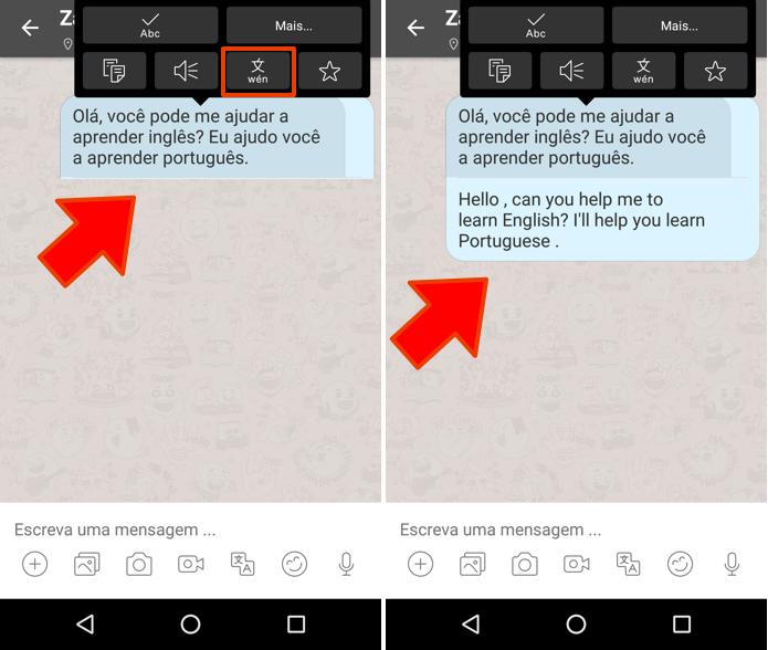 Traduza mensagens dentro do chat (Foto: Reprodução/Paulo Alves)