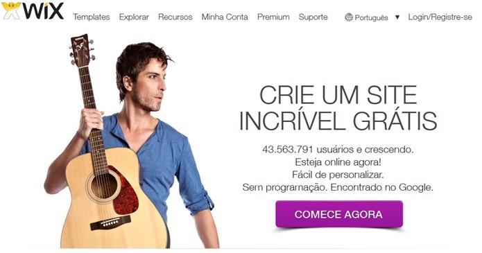 Tela inicial do site Wix (Foto: Reprodução/Carolina Ribeiro)