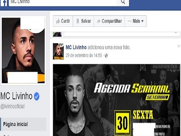 Agenda de Livinho mostra show em casa noturna de Cabo Frio (Foto: Reprodução Facebook)