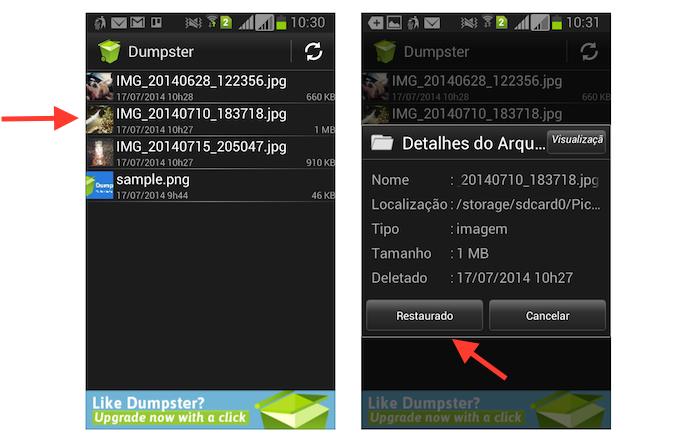 Restaurando um arquivo deletado acidentalmente no Android com o Dumpster (Foto: Reprodução/Marvin Costa)
