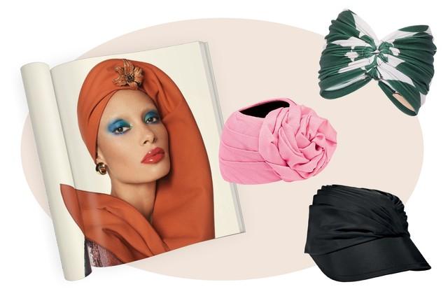 À esquerda: Turbante e broche, ambos Tom Ford, na Vogue inglesa deste mês. Ao lado, de cima para baixo: Adriana Degreas R$ 290, Gucci e Prada (Foto: Reprodução Vogue Uk Setembro de 2017, Imaxtree e Divulgação)