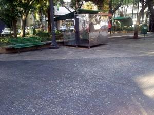 Chão da Praça José Bonifácio é coberto pela sujeira dos pombos em Piracicaba (Foto: Fernanda Zanetti/G1)