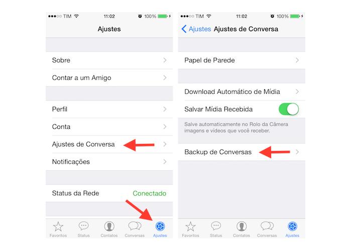 Acessando as configurações de backup do WhatsApp no iPhone (Foto: Reprodução/Marvin Costa)