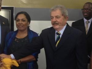 Lula em evento  na Faculdade Zumbi dos Palmares  (Foto: Tatiana Santiago/G1)