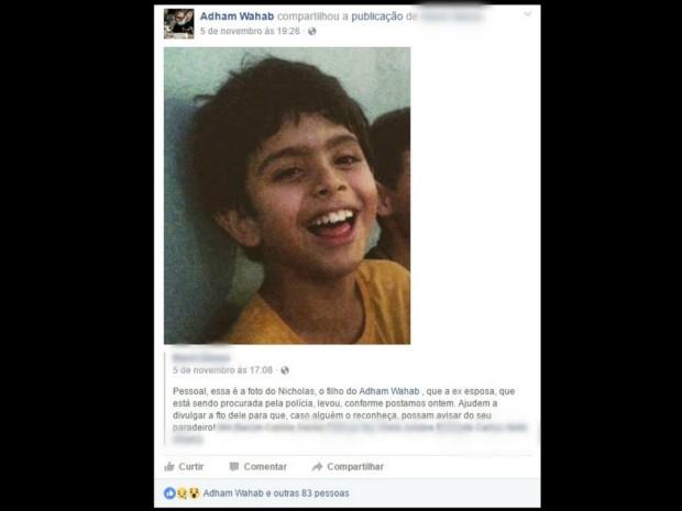 Em MS, pai faz campanha na web para encontrar levado pela mãe há 2 anos (Foto: Reprodução/Facebook)