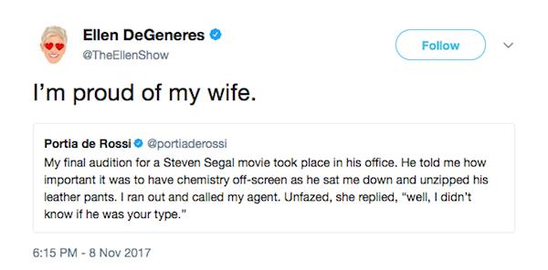 O tuíte no qual a atriz e apresentadora Ellen DeGeneres diz estar orgulhosa pela decisão de sua esposa em expor o assédio sofrido por ela (Foto: Twitter)