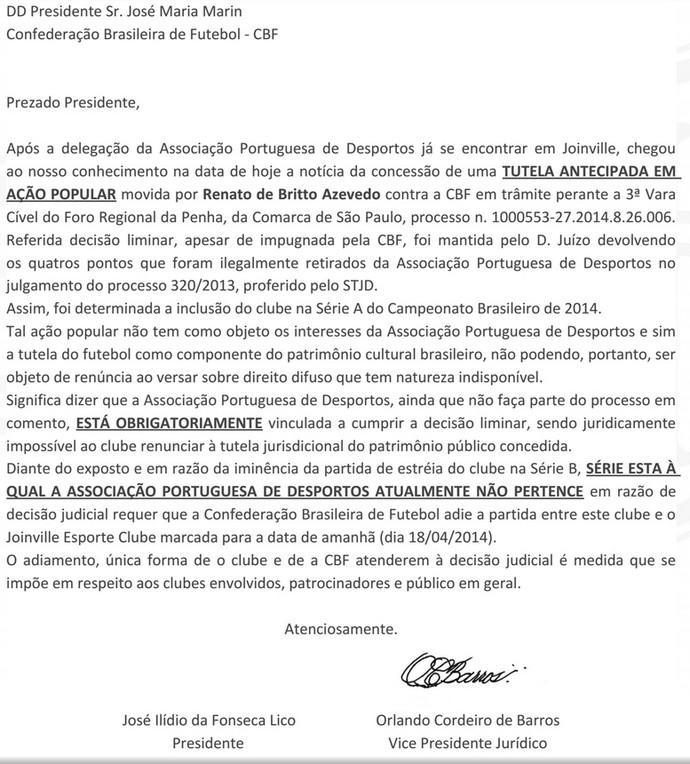 carta portuguesa liminar (Foto: Reprodução)