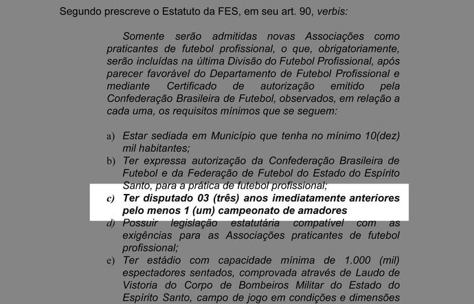 Trecho do Estatuto da Federação de Futebol (FES) (Foto: Reprodução)