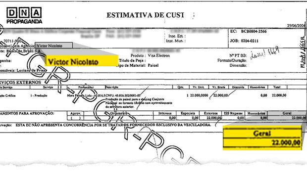 Documento prova que o publicitário Victor Nicolato trabalhou na DNA, agência de publicidade de Marcos Valério envolvida no escândalo do mensalão (Foto: Época)