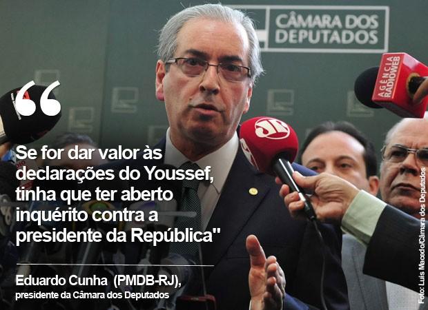 Eduardo Cunha fala sobre as delações de Youssef e cita Dilma Rousseff (Foto: G1)