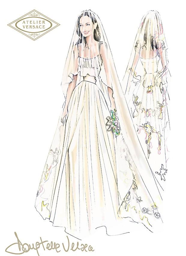 O croqui do vestido de noiva de Angelina Jolie (Foto: Divulgação)