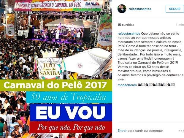 Rui Costa anuncia tema do carnaval no Centro Histórico de Salvador em 2016 (Foto: Reprodução/Instagram)