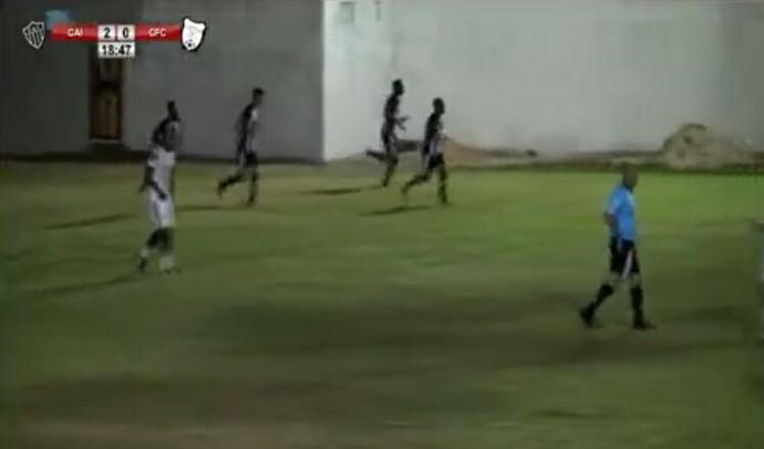 Jogadores comemoram o segundo gol do Atlético-ES contra o Castelo (Foto: Reprodução/RSA Online)