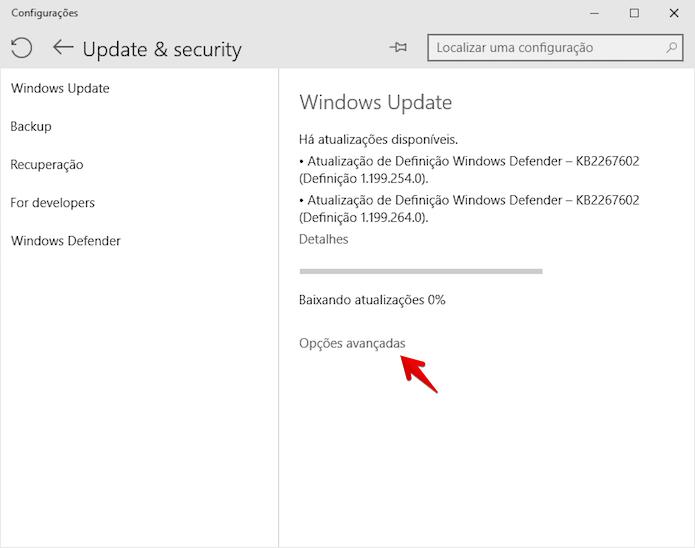 Acesse as configurações do Windows Update (Foto: Reprodução/Helito Bijora)