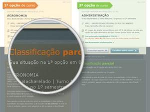 Site do Sisu mostra a situação do candidato nos dois cursos escolhidos (Foto: Reprodução)