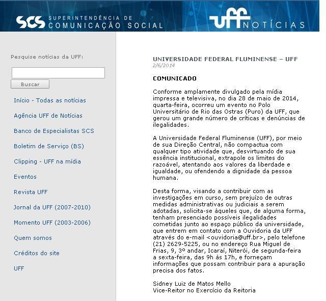 UFF emitiu comunicado no site (Foto: Reprodução / Internet)