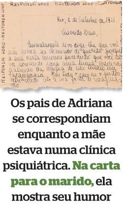 Os pais de Adriana se correspondiam enquanto a mãe estava numa clínica psiquiátrica. Na carta para o marido, ela mostra seu humor (Foto: reprodução)