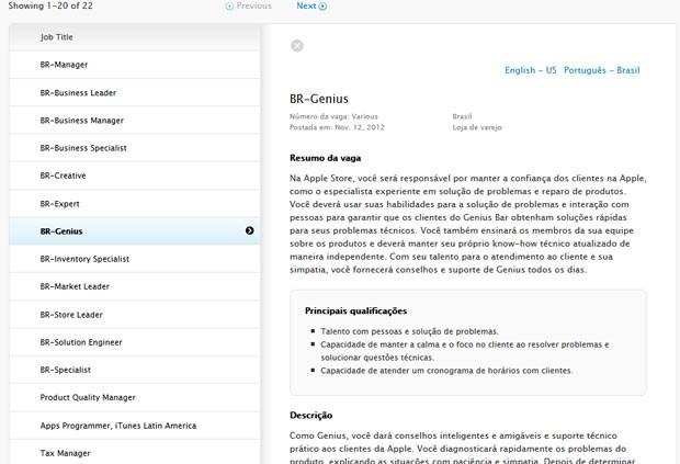 Site da Apple oferece vagas de emprego no Brasil (Foto: Reprodução)