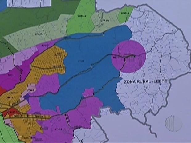 Mapa do projeto de uso e ocupação de solo, de Mogi das Cruzes (Foto: Reprodução/ TV Diário)