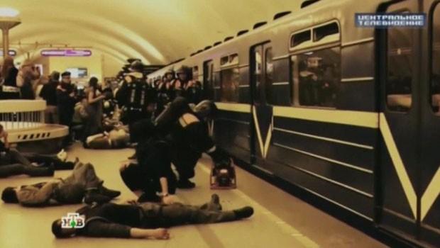 A TV russa recentemente mostrou imagens de um treinamento de defesa (Foto: BBC/NTV)