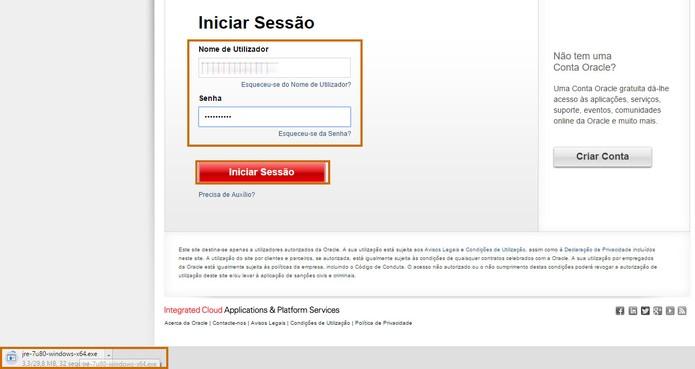 Faça o login na conta e aguarde o fim do download do Java (Foto: Reprodução/Barbara Mannara)