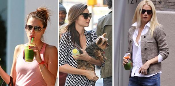 As celebs levam sua garrafinha com suco verde para todo lado! (Foto: Splash News)