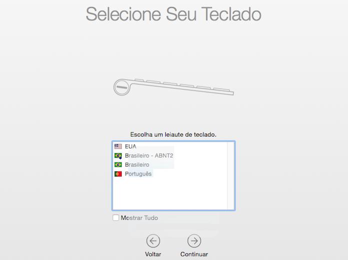 Selecione a configuração de layout do teclado (Foto: Reprodução/Helito Bijora)