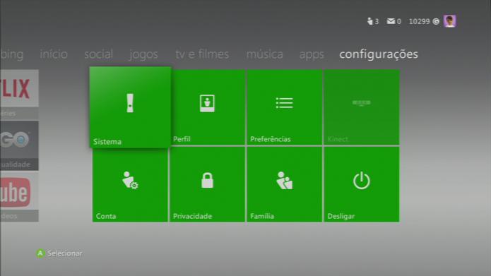 Configurações de Sistemas do Xbox 360 (Foto: Reprodução/Silas Tailer).
